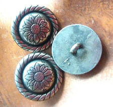 2 Costume Metal Buttons Jacket Coat Color Antiqued Silver zierrand Flower 21mm
