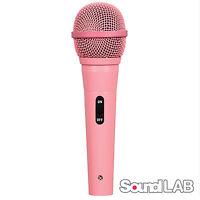 Soundlab Dynamic Vocal DJ Music Karaoke Pink Microphone & 3m XLR to 6.35mm Lead