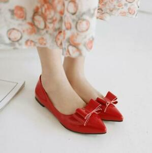 New Womens Faux Leather Shoes Pointy Toe Bowknot Pumps Loafers Flats Shoes