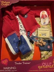 """NIB Our Generation 18"""" Doll PET TRAINER OUTFIT And PUPPY DOG Treats Gift Set New"""