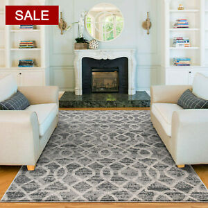 Deal Extra Large Geometric Grey Floor Rug Thick Modern Moroccan Carpet 4 Sizes