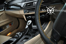 FOR MITSUBISHI ASX 10+ PERFORATED LEATHER STEERING WHEEL COVER YELLOW DOUBLE STT