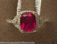 White Gold Radiant Cut Halo Vintage Ruby Diamonds Engagement Fashion Ring Band