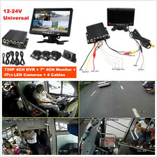 4CH Car Mobile DVR Security Video Recorder w/Cameras LCD Monitor Panoramic 360°