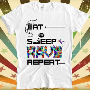 Eat Sleep Rave Repeat Dance Ibiza Logo Cool Gift Retro Unisex T Shirt 2390