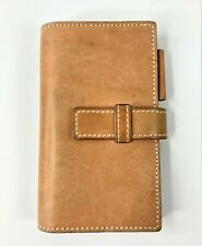 Small Vintage Leather Notepad Pen Card Holder Organizer Saddle Leather 6.75x3.75