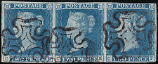 1841 SG14 2d BLUE PLATE 3 STRIP OF 3 MALTESE CROSSES 4 MARGINS (CD/CF)