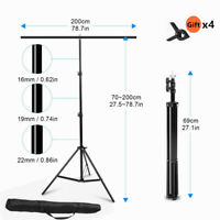 7FT T-Shape Photography PVC Backdrop Background Support Stand System with Bag