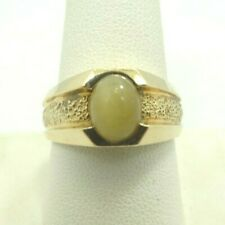 14K Yellow Gold Tigers Eye Cabochon Ring Textured Band 10mm Sz10 7.8 Grams D9737