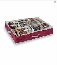 Domopak Living Red Non Woven Under Bed 12 Compartment Shoe Organiser