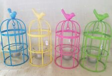 YELLOW  bird cage candle holder with candle new
