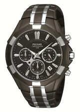PULSAR CHRONOGRAPH DATE BLACK DIAL BLACK ION ST.STEEL MEN'S WATCH PT3289 NEW