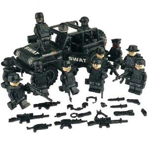 Lego SWAT Custom Minifigures with JEEP - Lot of 12 with weapons and jeep