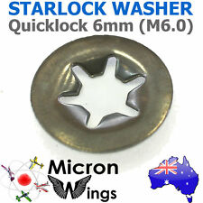 10 x Quicklock Starlock 6mm (M6.0) Speed Lock Washer (star lock locking washer)
