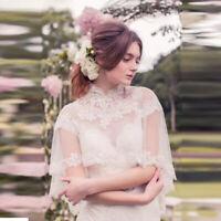 Beaded Wedding Bolero High Neck Jacket Sequin Cape White Ivory Plus Size Custom