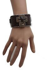 Women Brown Leather Western Bracelet Fashion Big Silver Cross Silver Bling Beads