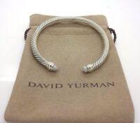 David Yurman Sterling Silver 5mm Pave Diamond Dome Tips Cable Classic Bracelet