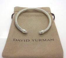 David Yurman Sterling Silver 5mm Pave Diamond Dome Tips Cable Classic Bracelet