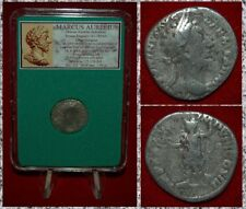 Ancient Roman Empire Coin MARCUS AURELIUS Roma On Reverse Silver Denarius