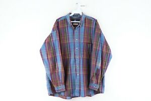 Vintage 90s Streetwear Mens Large Multicolor Plaid Faded Denim Jean Shirt Indigo