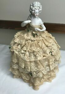 "9"" Antique Arms Away Doll Beautiful Original Dress  HALF DOLL Pin Cushion"