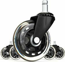 Office Rubber Chair Caster Wheels (Set of 5) Heavy Duty Casters & Safe Fit