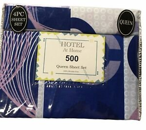 Hotel At Home Collection Striped Pattern Deep Pocket 4 Piece Sheet Set Queen