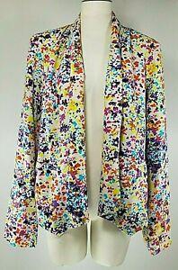 Jessica Simpson Blazer - Size 1X - White with Multi Color Design - Pockets