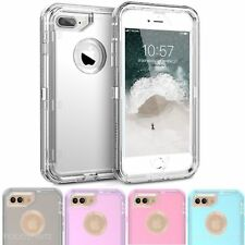 For iPhone 6 6S 7 8 X Plus Clear Defender Transparent Case (Clip Fits Otterbox)