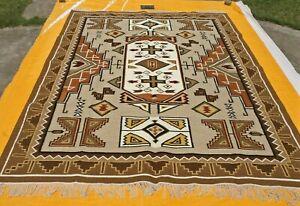 Large Wool Kilim Navajo Southwestern Bohemian Gray Rug 9'x12' Handmade Rug