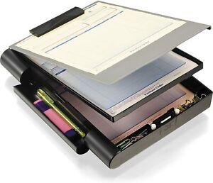 Locking Storage Aluminum Vaultz Clipboard Hard Black Solid Briefcase Case Paper