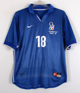 1998 World Cup ITALY Home S/S No.18 BAGGIO 98 France jersey shirt