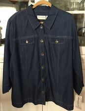 ALFRED DUNNER WOMAN PLUS 22W button SHIRT TOP 3/4 sleeve navy denim NEW TAGS
