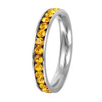 Stainless Steel Eternity Citrine Crystal November Birthstone Stackable Ring 3MM