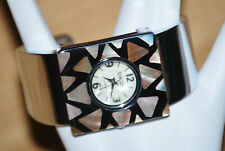 CHICO'S Abalone shell CHUNKY Square silver CUFF bracelet WATCH NEW no battery