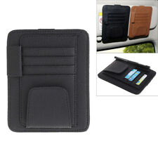 Multi-function Car Sun Visor Black Leather Pen Card Sunglass Clip Storage Holder