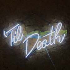 "Til Death Neon Light Sign Lamp Beer 17"" Real Glass Acrylic Man Cave Decor Bar"