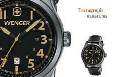 NWT WENGER Swiss Army   PVD watch Terragraph   black leather 0541.105 $250 tag