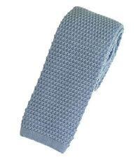 Men's Plain Light Blue Wool Knitted Tie (U102/37)