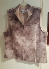 ALFRED DUNNER - Faux Suede Brown/Tan Animal Print Zippered Vest - Size 16