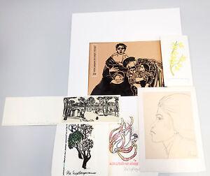 8363087 Konvolut Drucke und Zeichnung Ilse Engelberger Grußkarten Holzschnitt