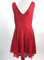 Express Womens Dress Sz 10 Red Fit Flare Lace Overlay Sleeveless V Neck