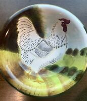 """Sakura """"On the Farm"""" 8 1/2 inch Soup Plate  White Rooster Right Facing"""