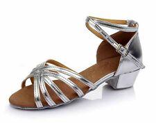 Ballroom heeled Salsa tango latin dance shoes children girls women kids 6 colors