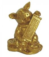 Chinese Zodiac Golden Money Pig Statue Boar Figurine Feng Shui Animal