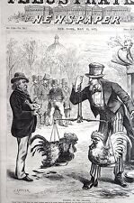 Washington Politics 1875 INDEPENDENT VOTERS COCK FIGHT Matted Political Cartoon