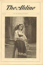Pretty Italian Girl, Dolce Far Niente. by Charles Landelle, 1874 Antique Print