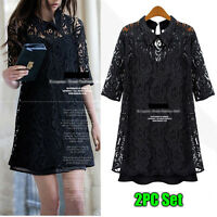 Womens Ladies 2pc Casual Dress Set Short Sleeve Size 12 14 16 18 20 22 24 #5111