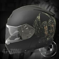 Torc T14 Flat Black Bluetooth Helmet with Multi Color Lucky13 Wings Graphics - M