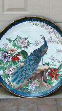 """EARLY 20 c CHINESE IMPRESSIVE LARGE PEACOCK CLOISONNE CHARGER 25"""" DIAM."""